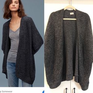 Aritzia community ionic cape cardigan dark grey